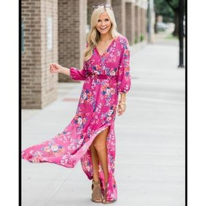 Pink Lily Never Say Goodbye Berry Floral Maxi